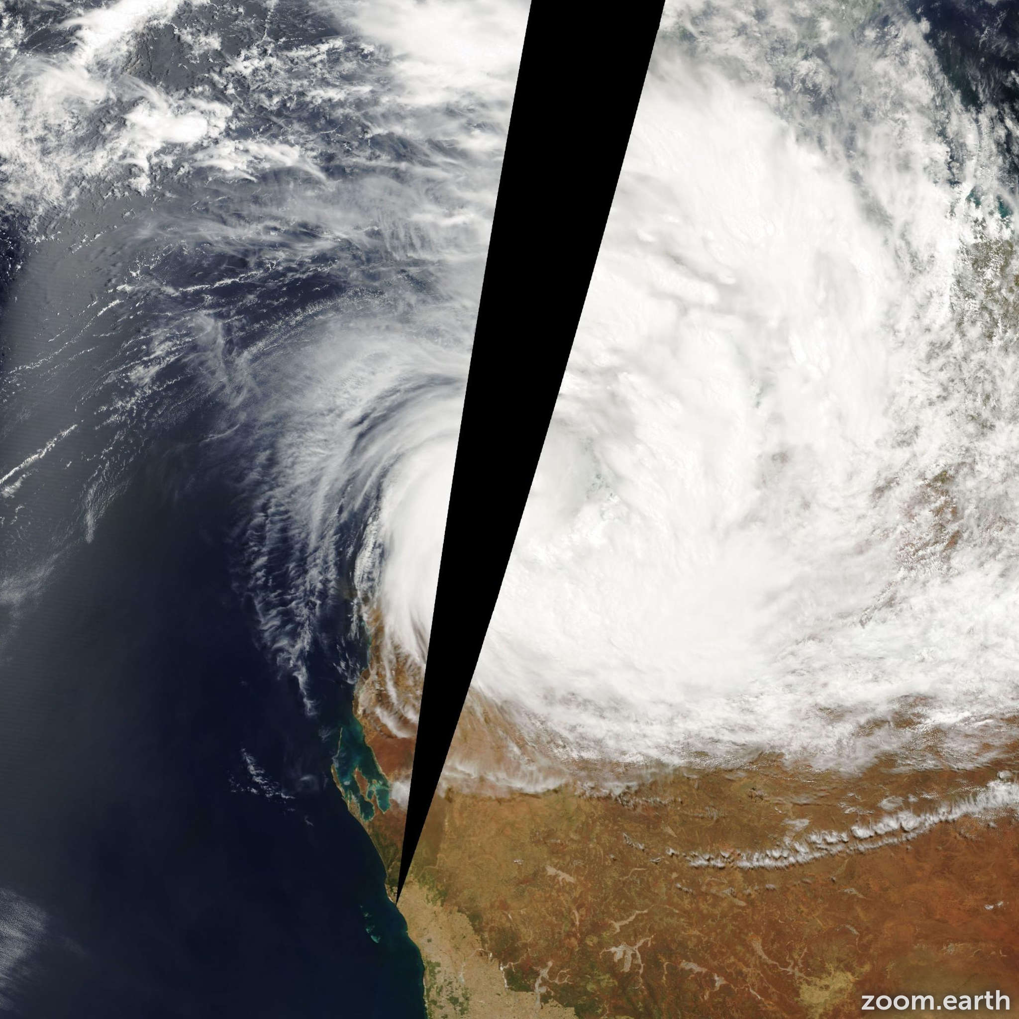 Satellite image of Cyclone Steve 2000