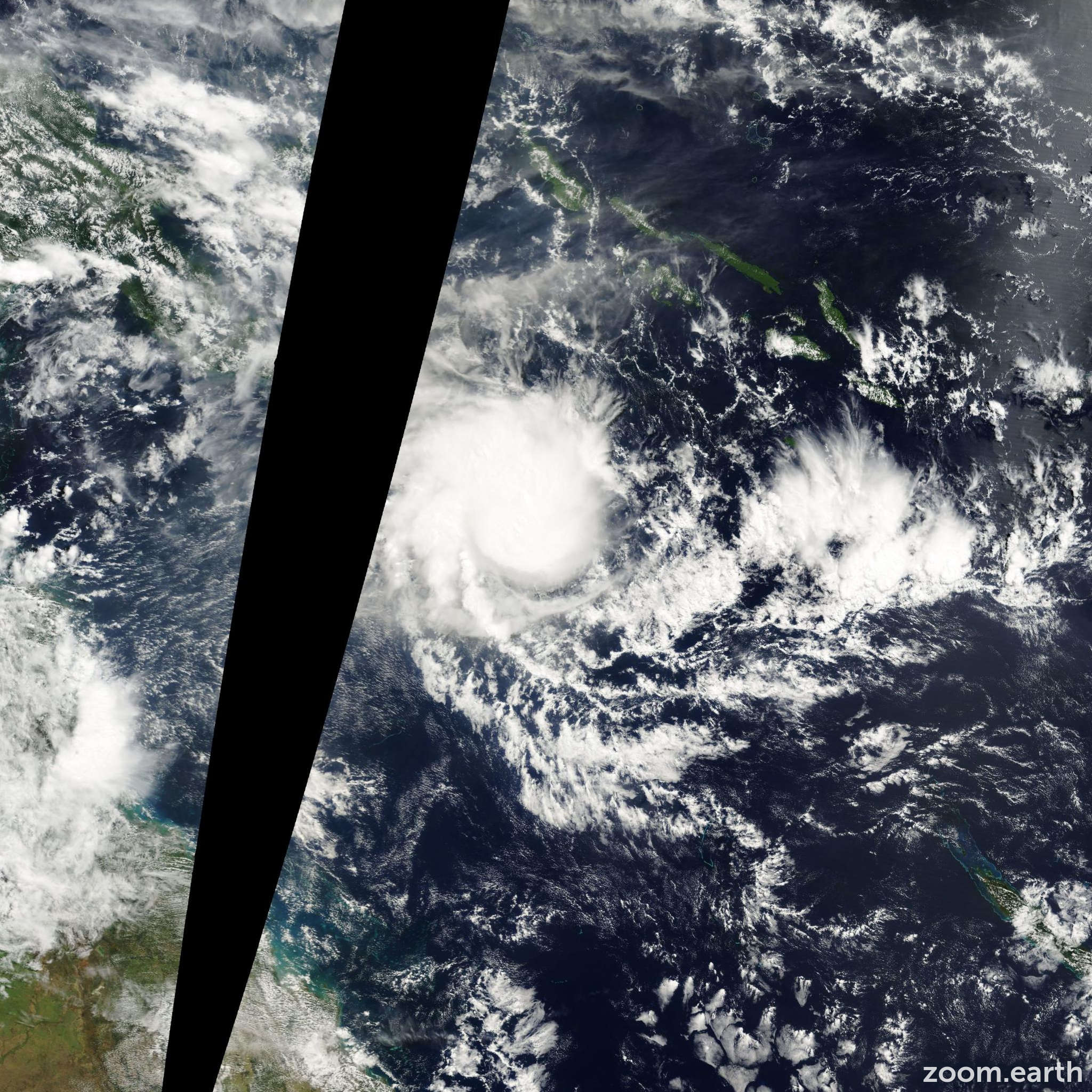Satellite image of Cyclone Vaughan 2000