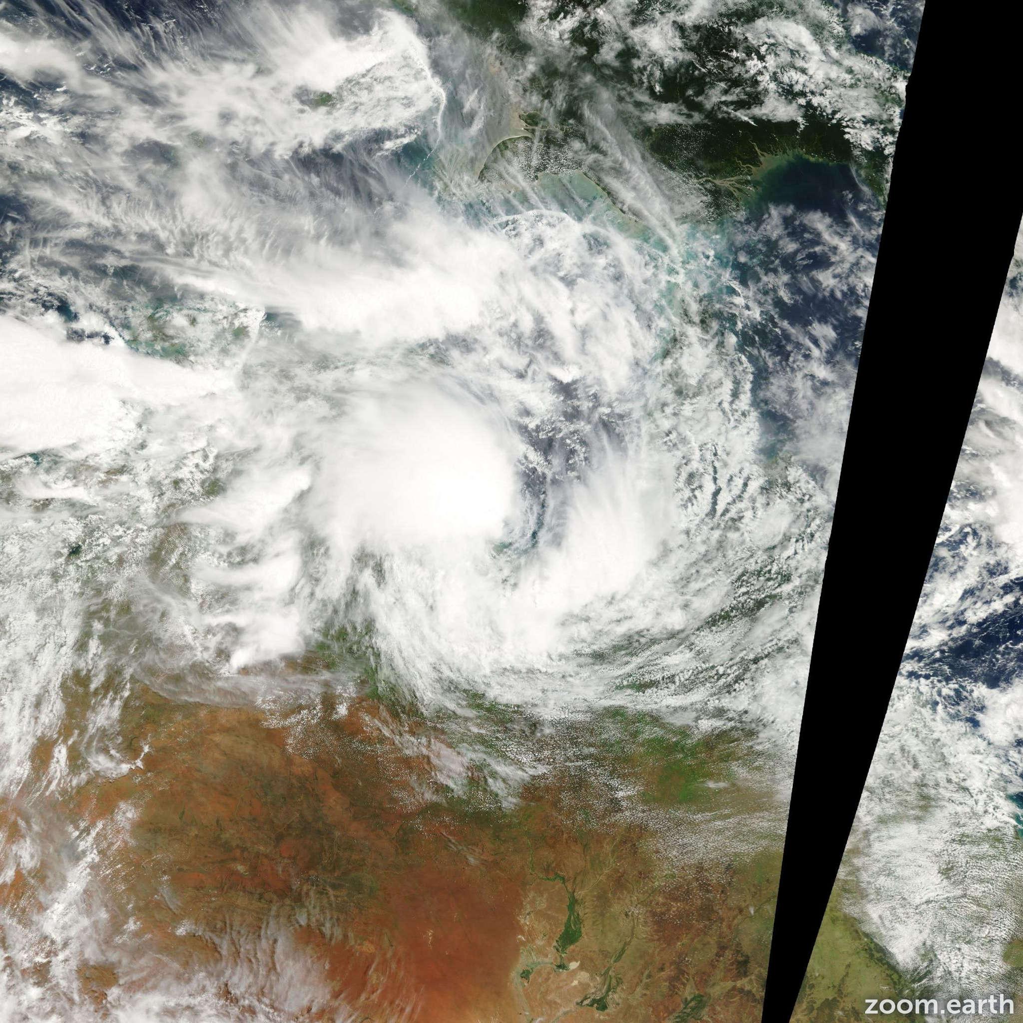 Satellite image of Cyclone Wylva 2001