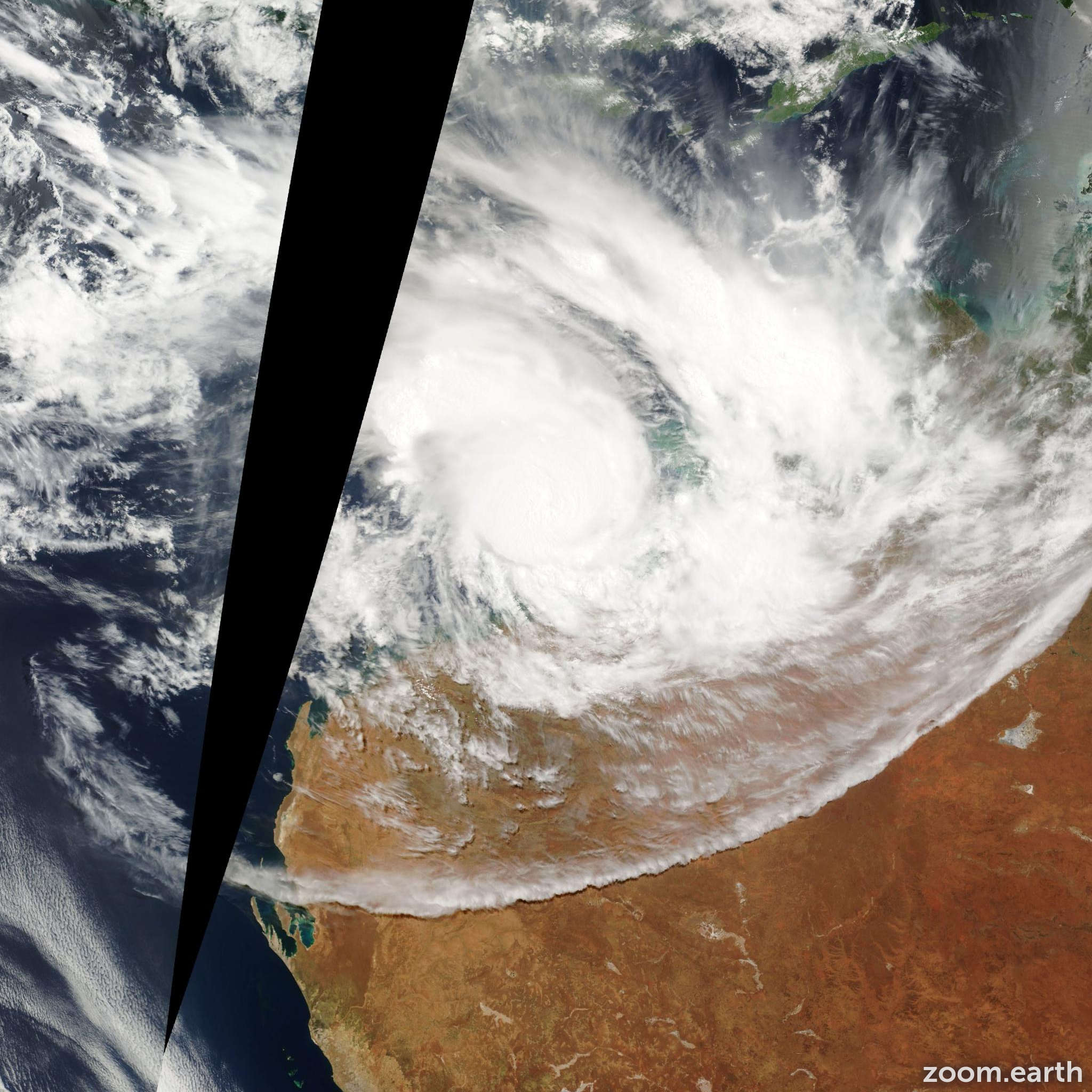 Satellite image of Cyclone George 2007