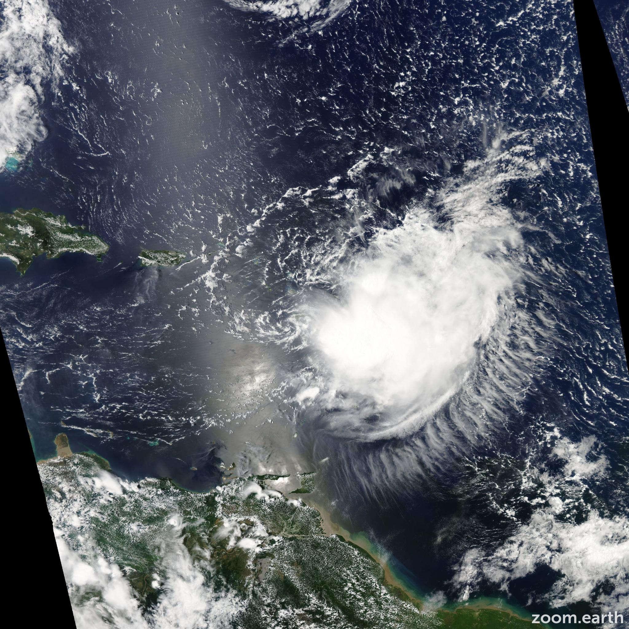 Satellite image of Storm Erika 2009