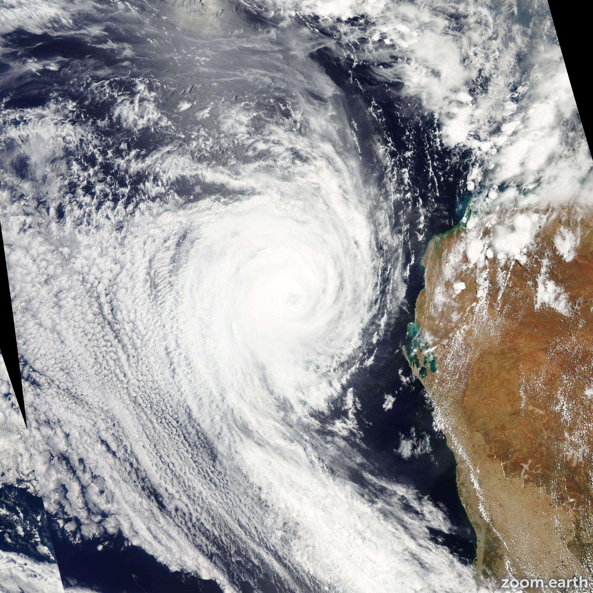 Satellite image of Cyclone Bianca 2011