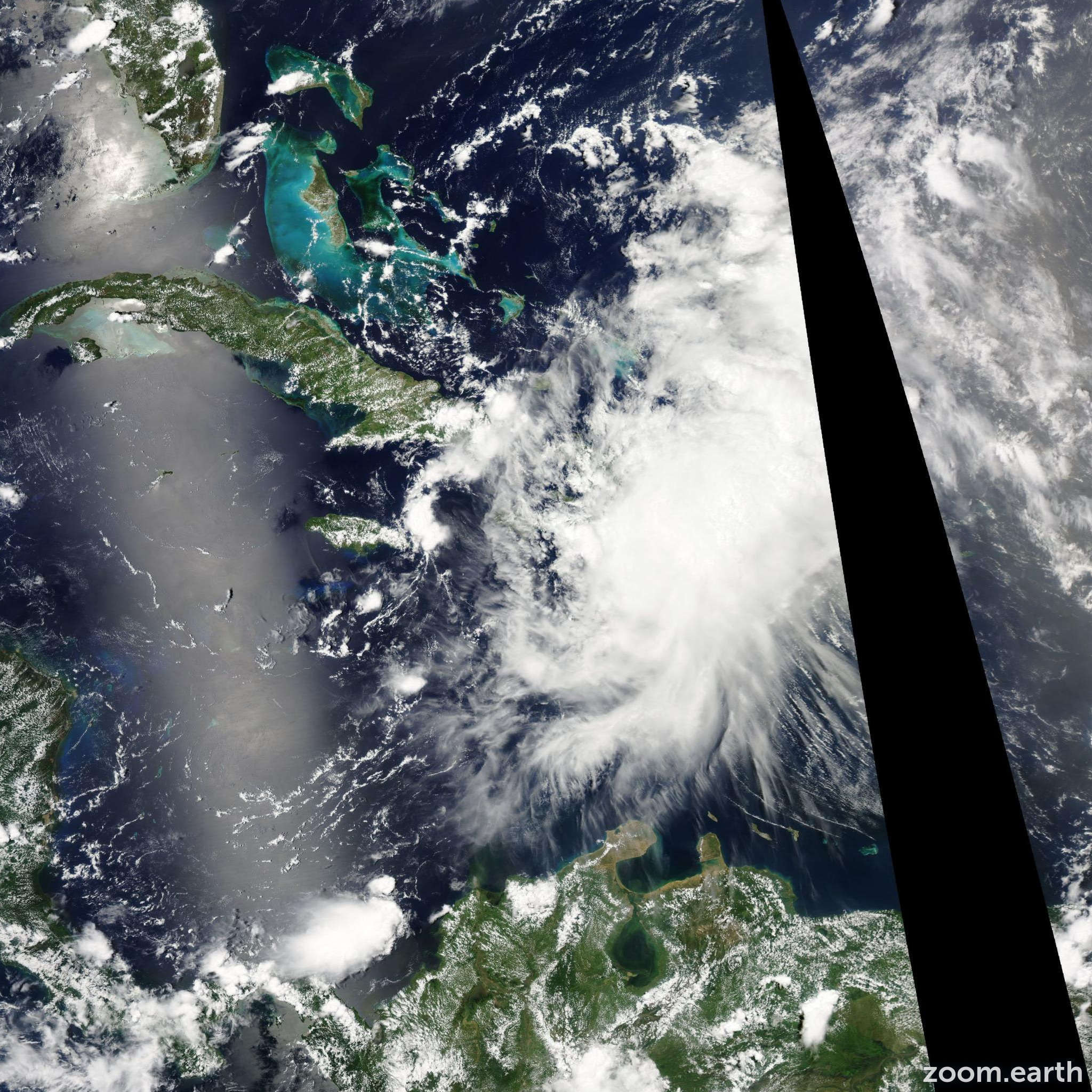 Satellite image of Storm Emily 2011