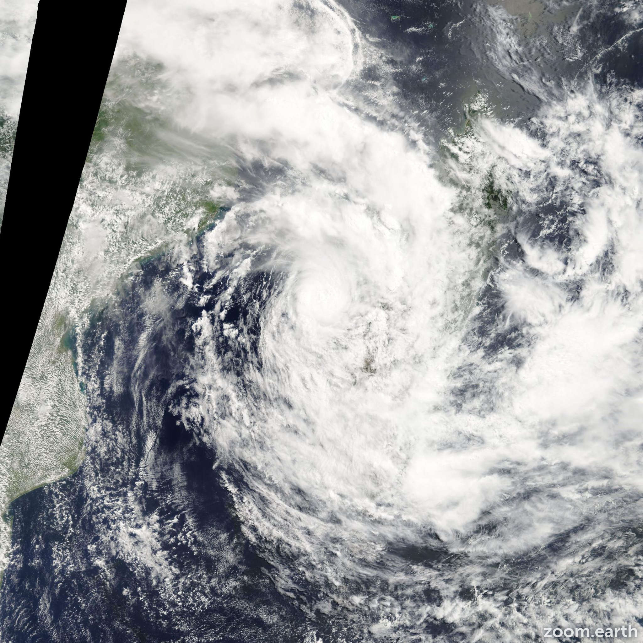 Satellite image of Storm Irina 2012