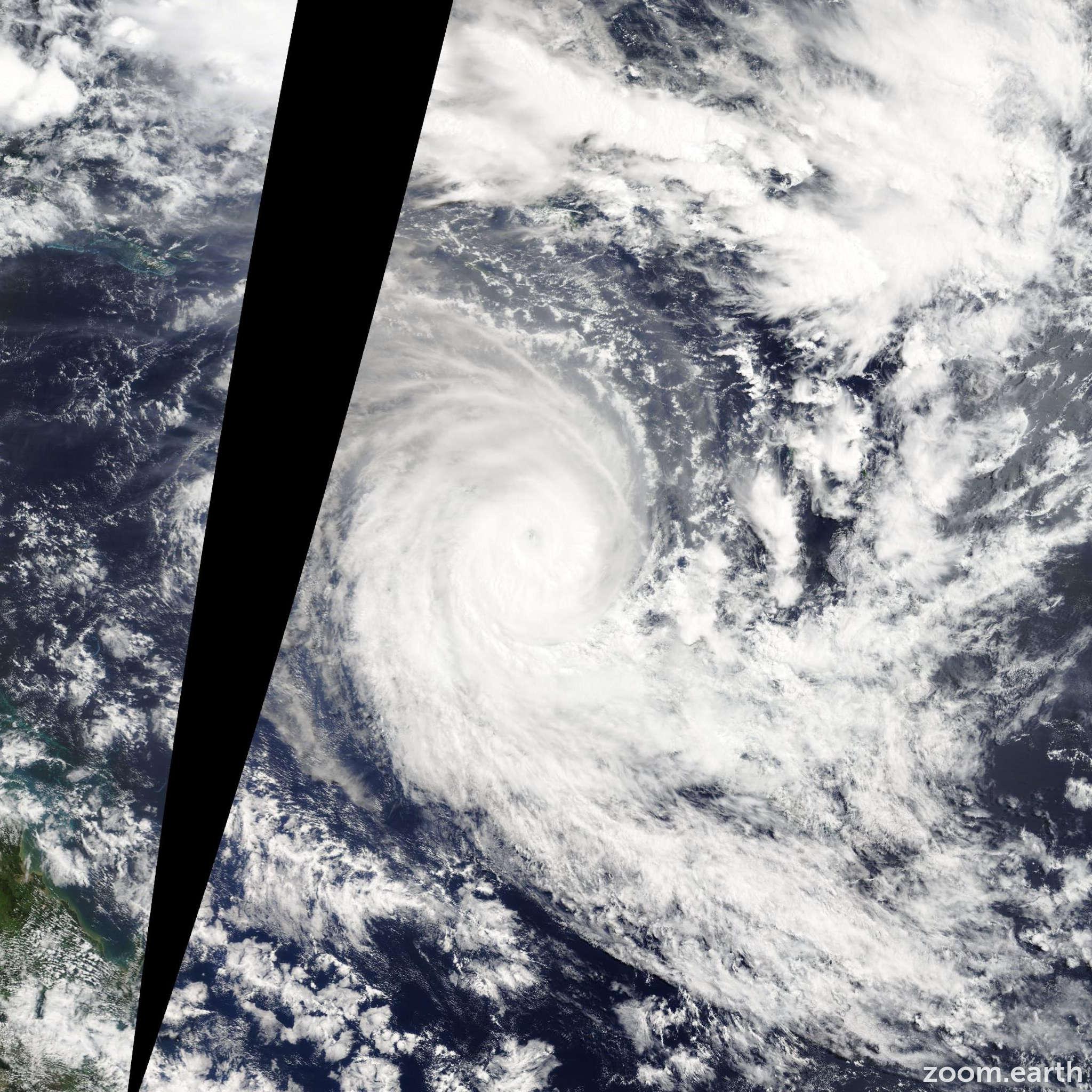 Satellite image of Cyclone Sandra 2013