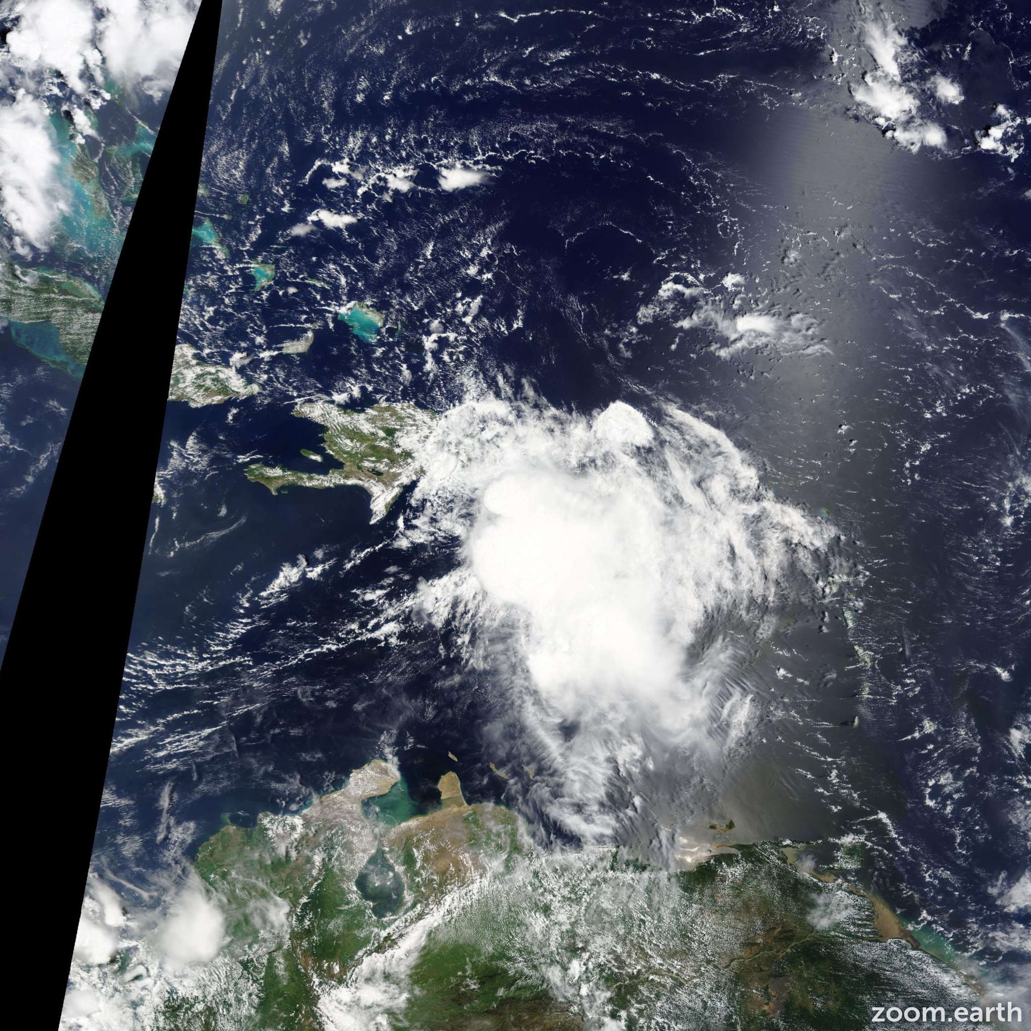 Satellite image of Storm Erika 2015
