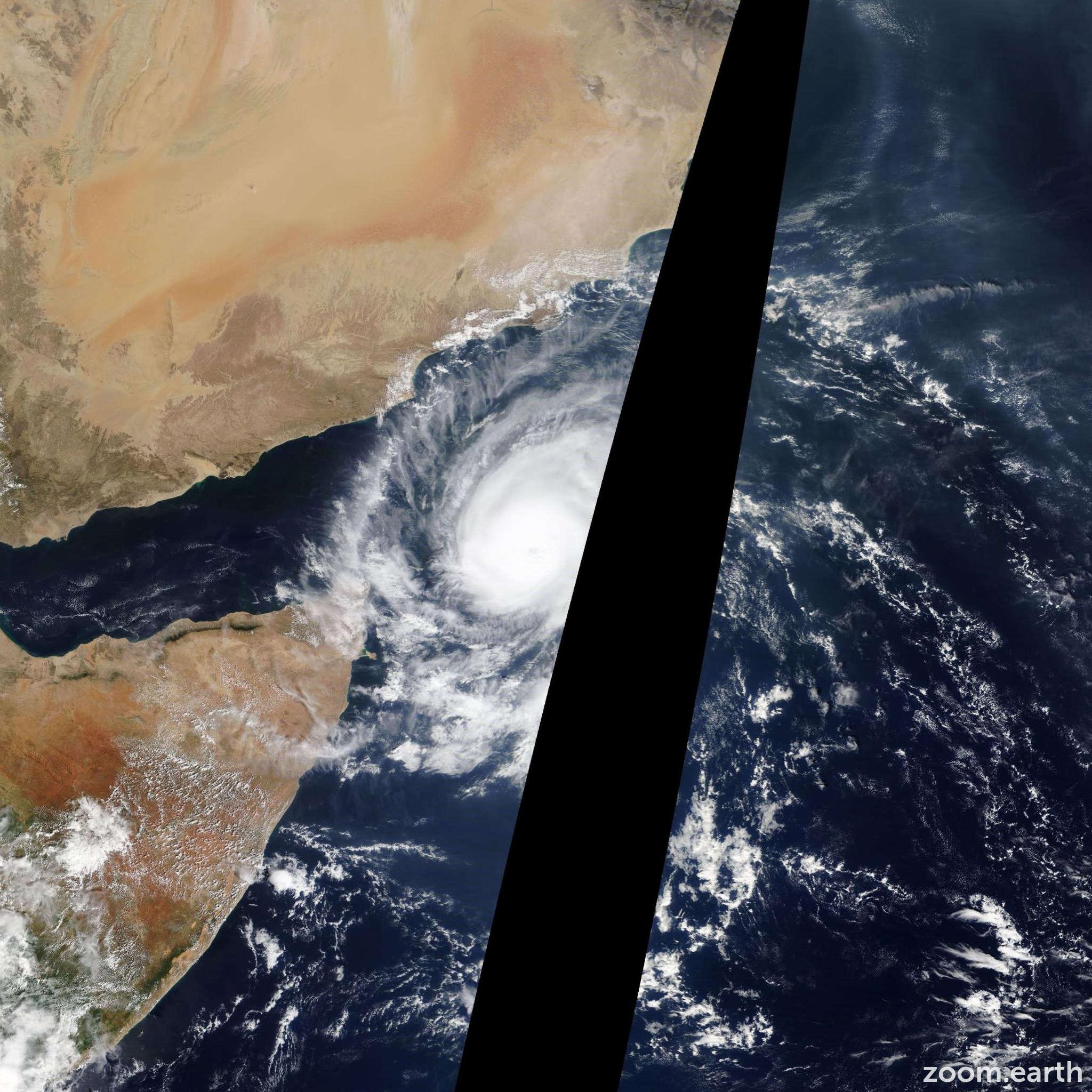 Satellite image of Cyclone Megh 2015