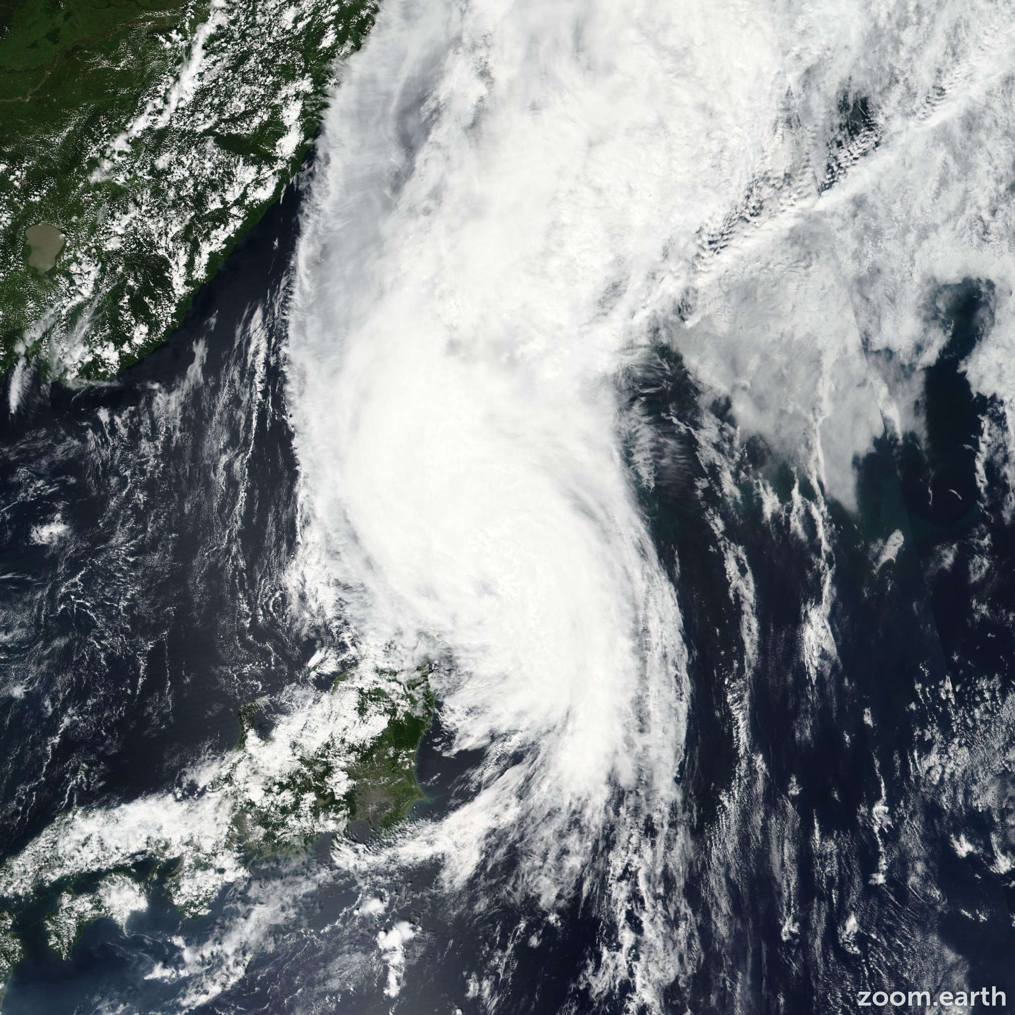 Satellite image of Storm Chanthu 2016