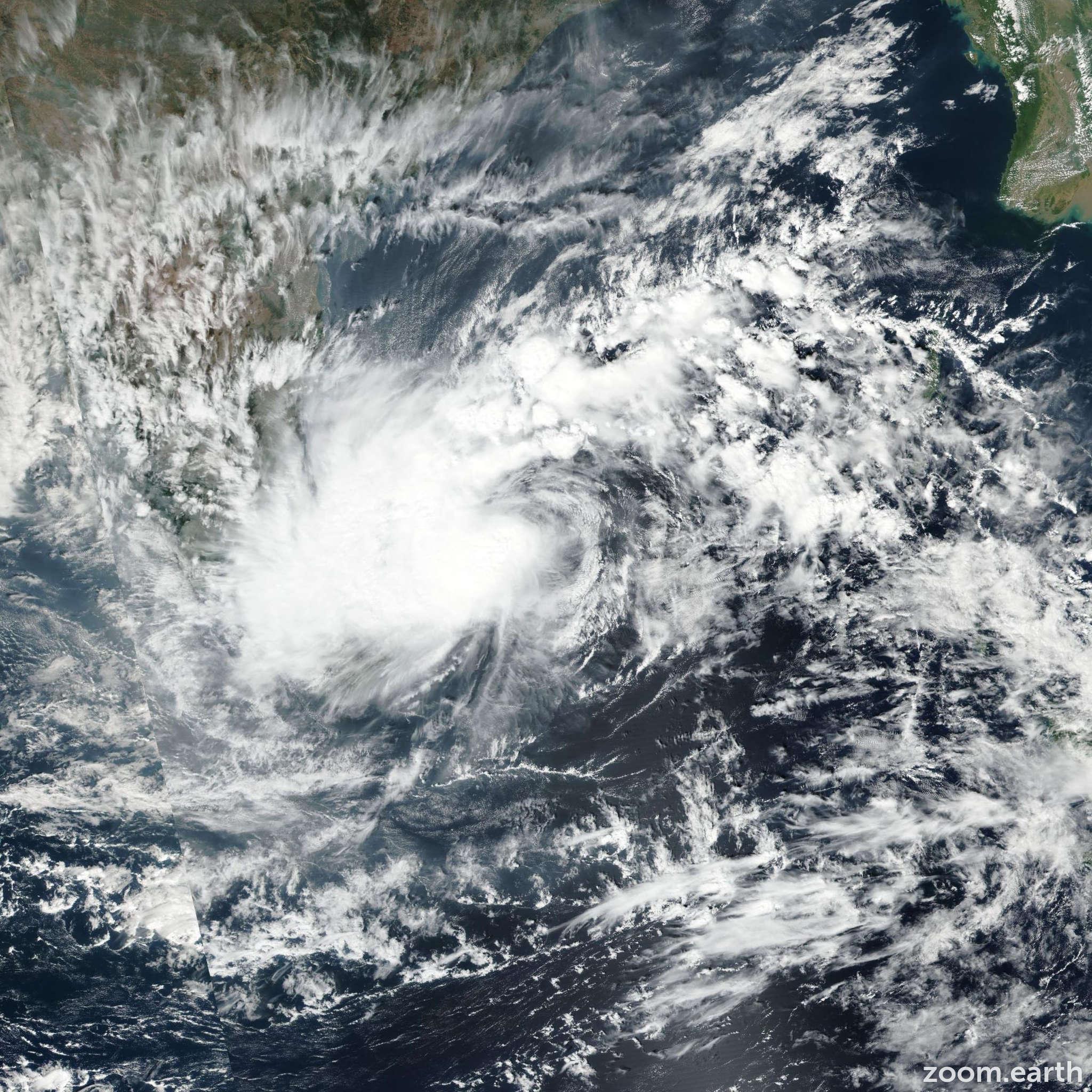 Satellite image of Cyclone Nada 2016