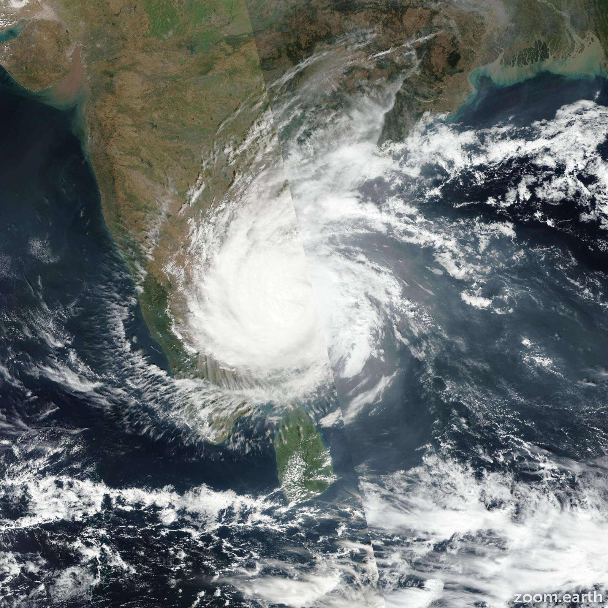 Satellite image of Cyclone Vardah 2016