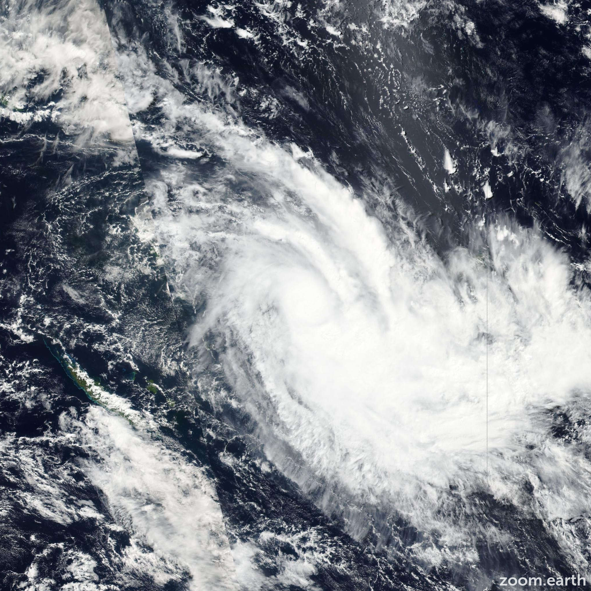 Satellite image of Cyclone Zena 2016