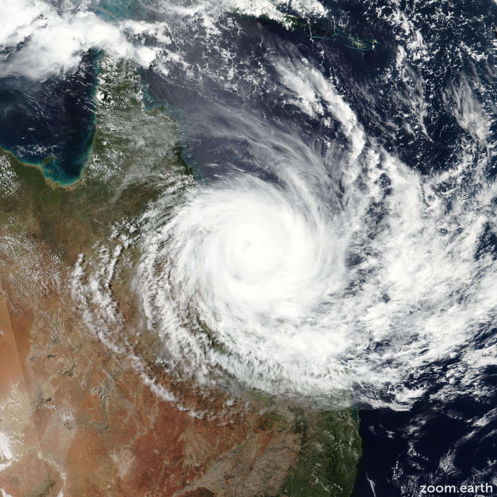 Satellite image of Cyclone Debbie 2017