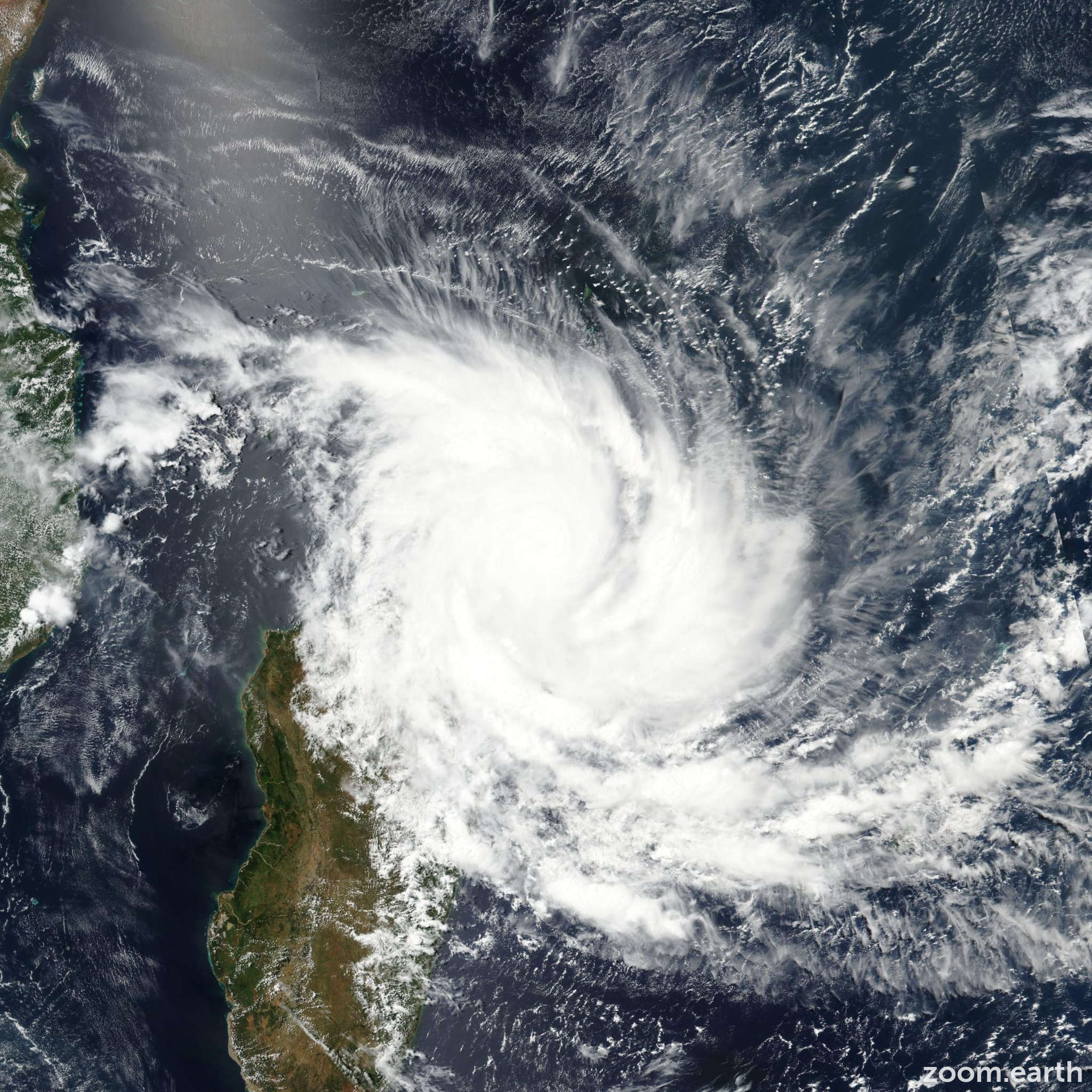 Satellite image of Cyclone Enawo 2017