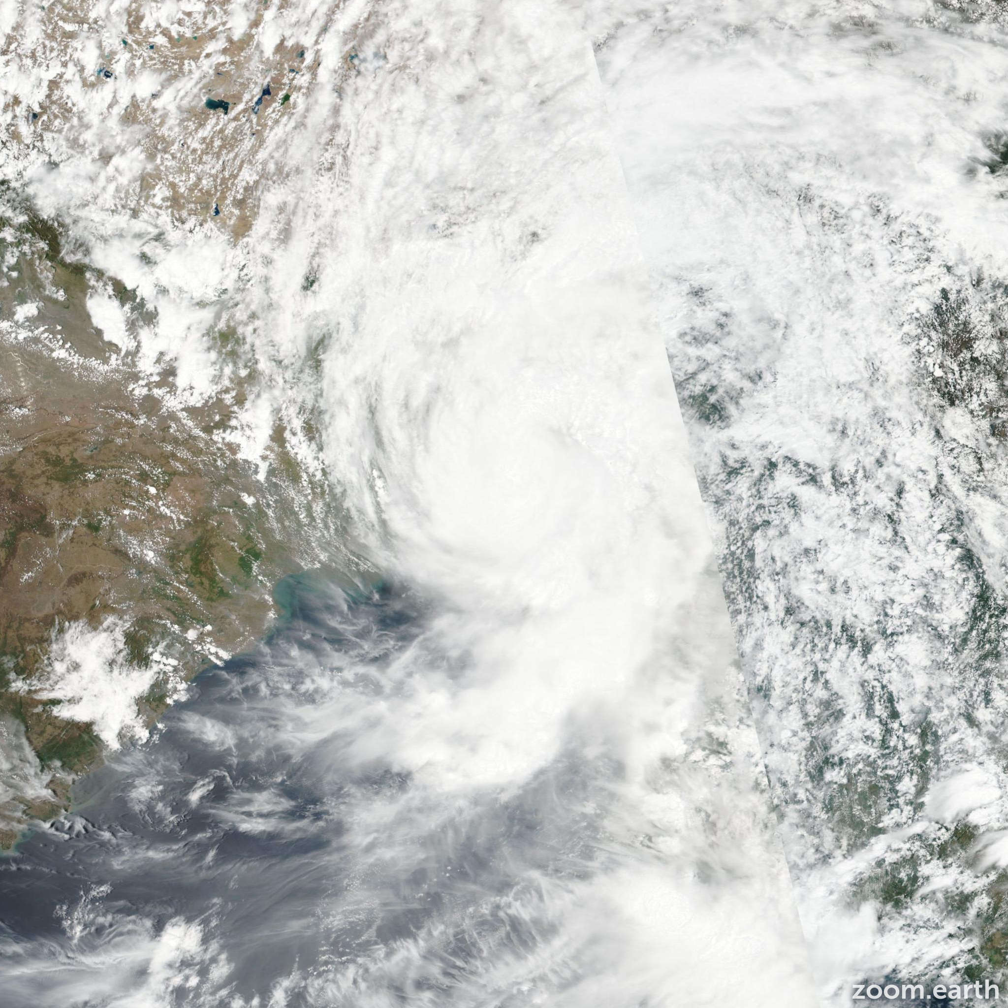 Satellite image of Cyclone Mora 2017