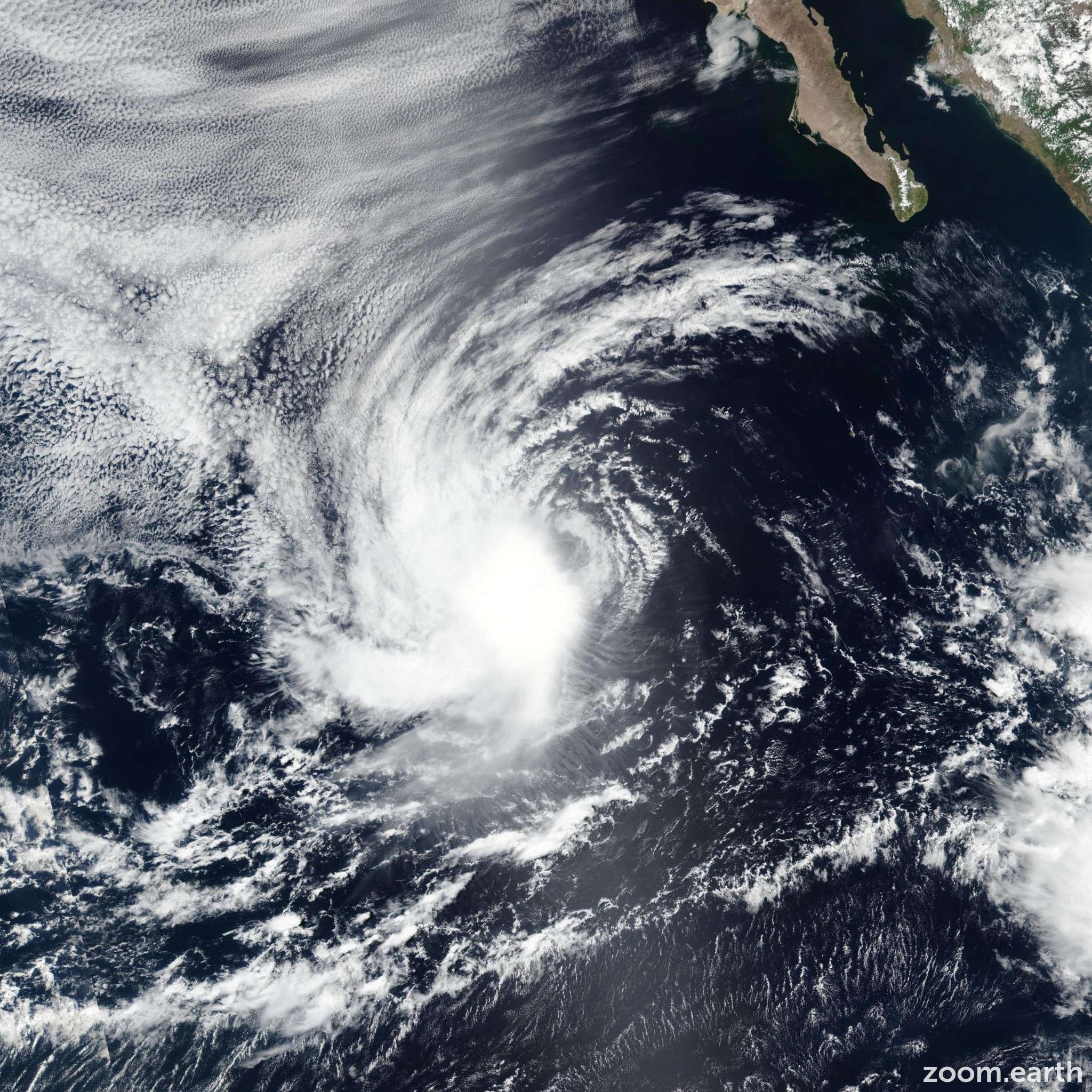 Satellite image of Storm Emilia 2018