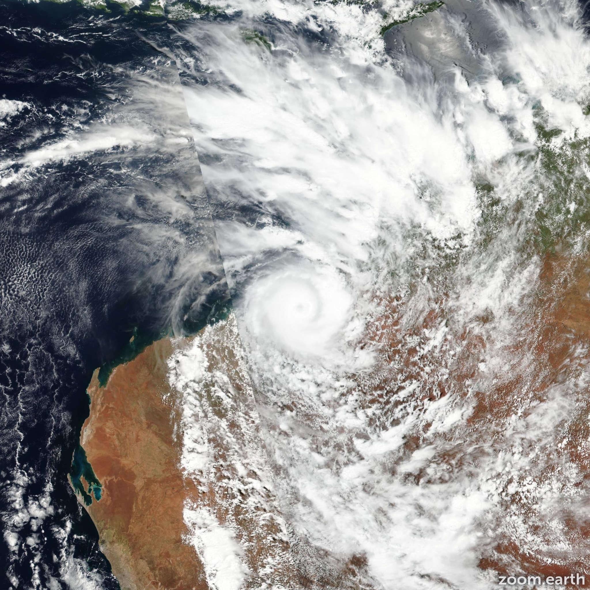Satellite image of Cyclone Kelvin 2018