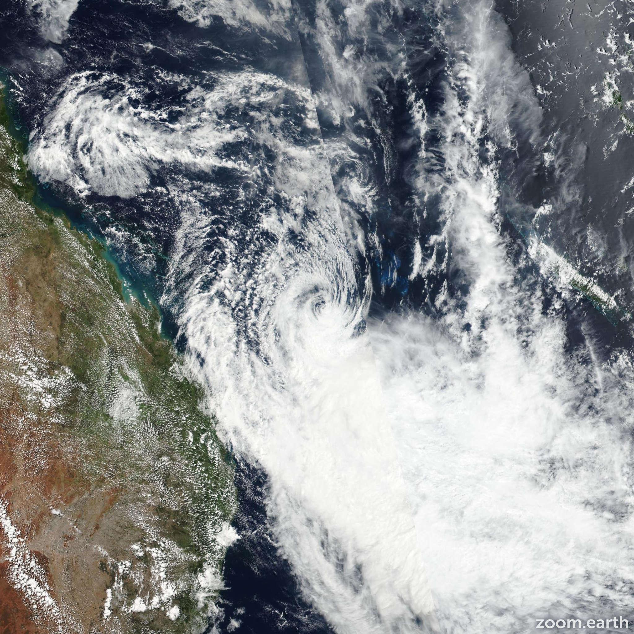 Satellite image of Cyclone Linda 2018