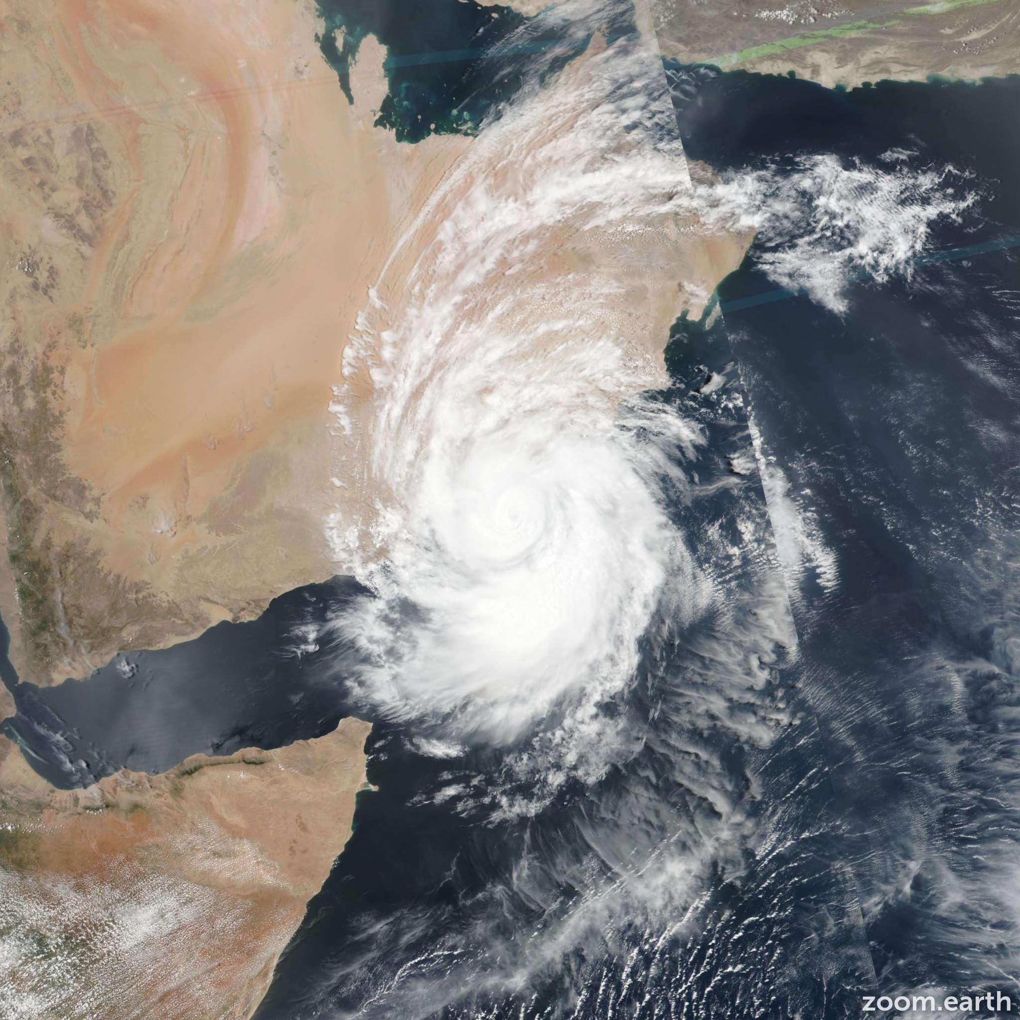 Satellite image of Cyclone Mekunu 2018