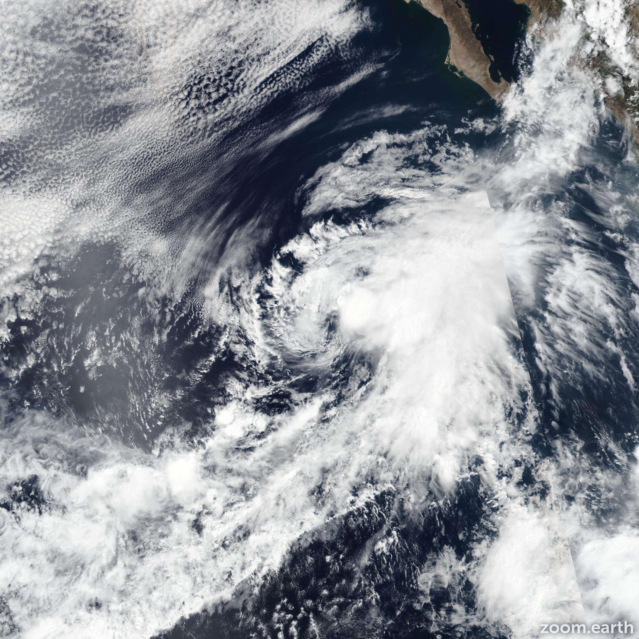 Satellite image of Storm Cosme 2019