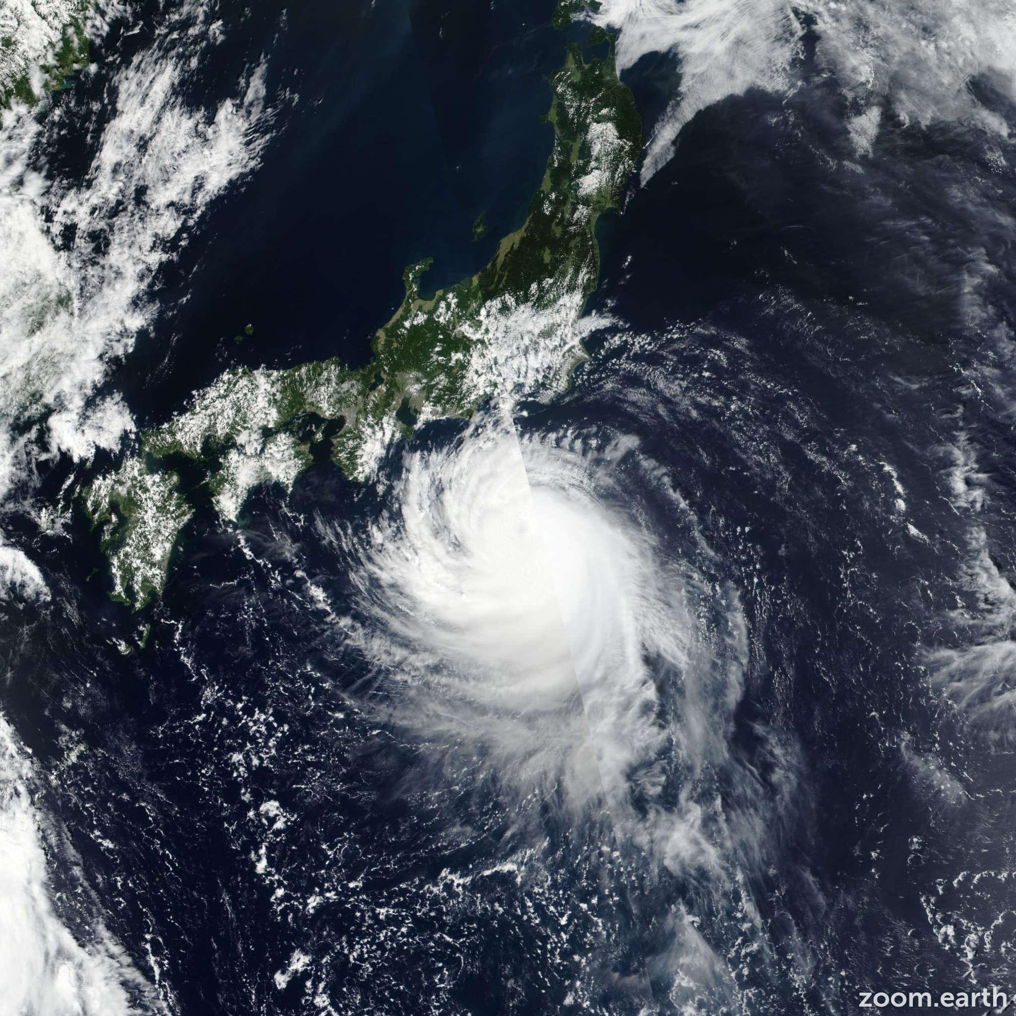 Satellite image of Typhoon Faxai 2019