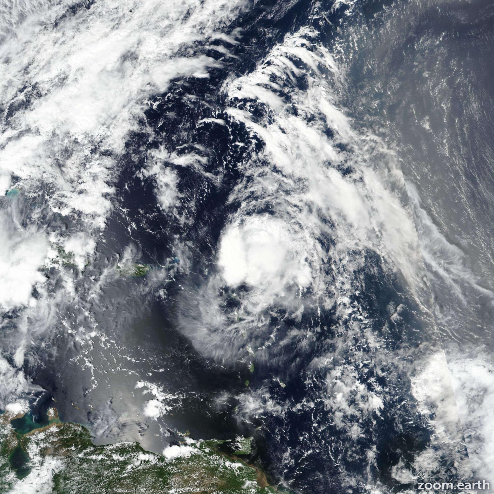 Satellite image of Hurricane Jerry 2019