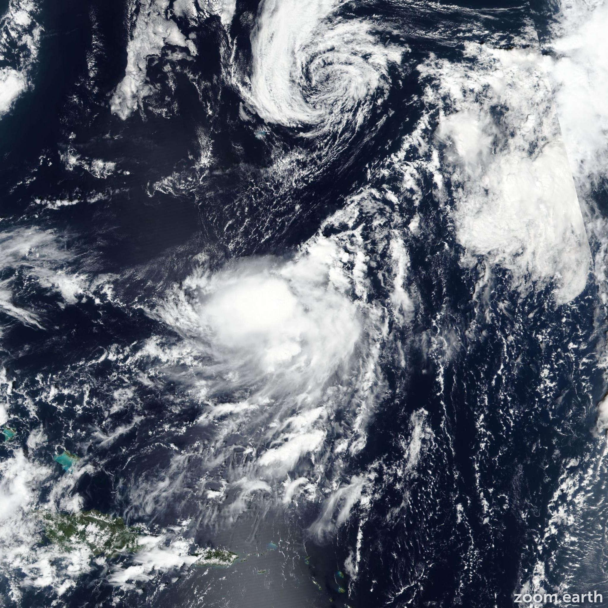 Satellite image of Storm Karen 2019