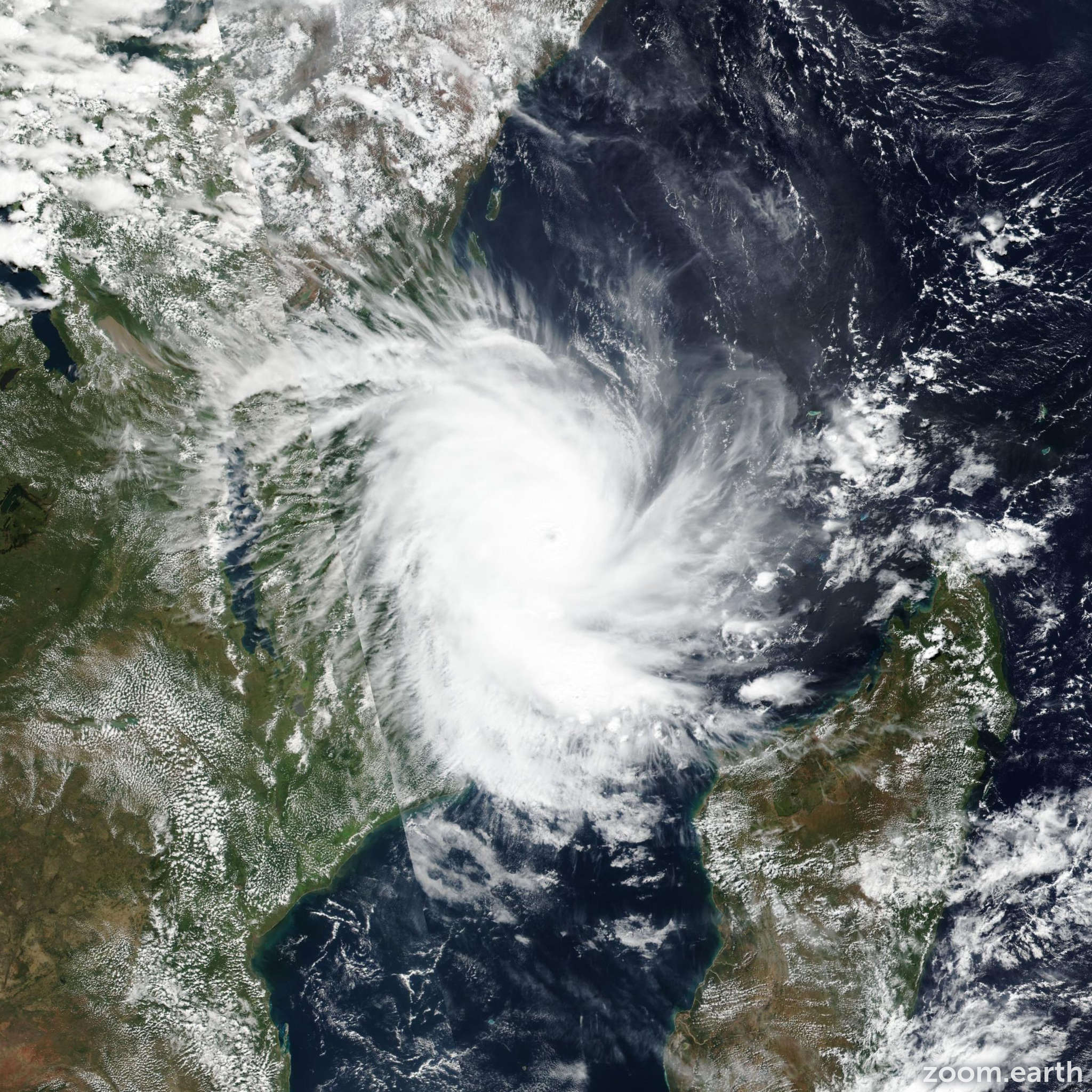 Satellite image of Cyclone Kenneth 2019