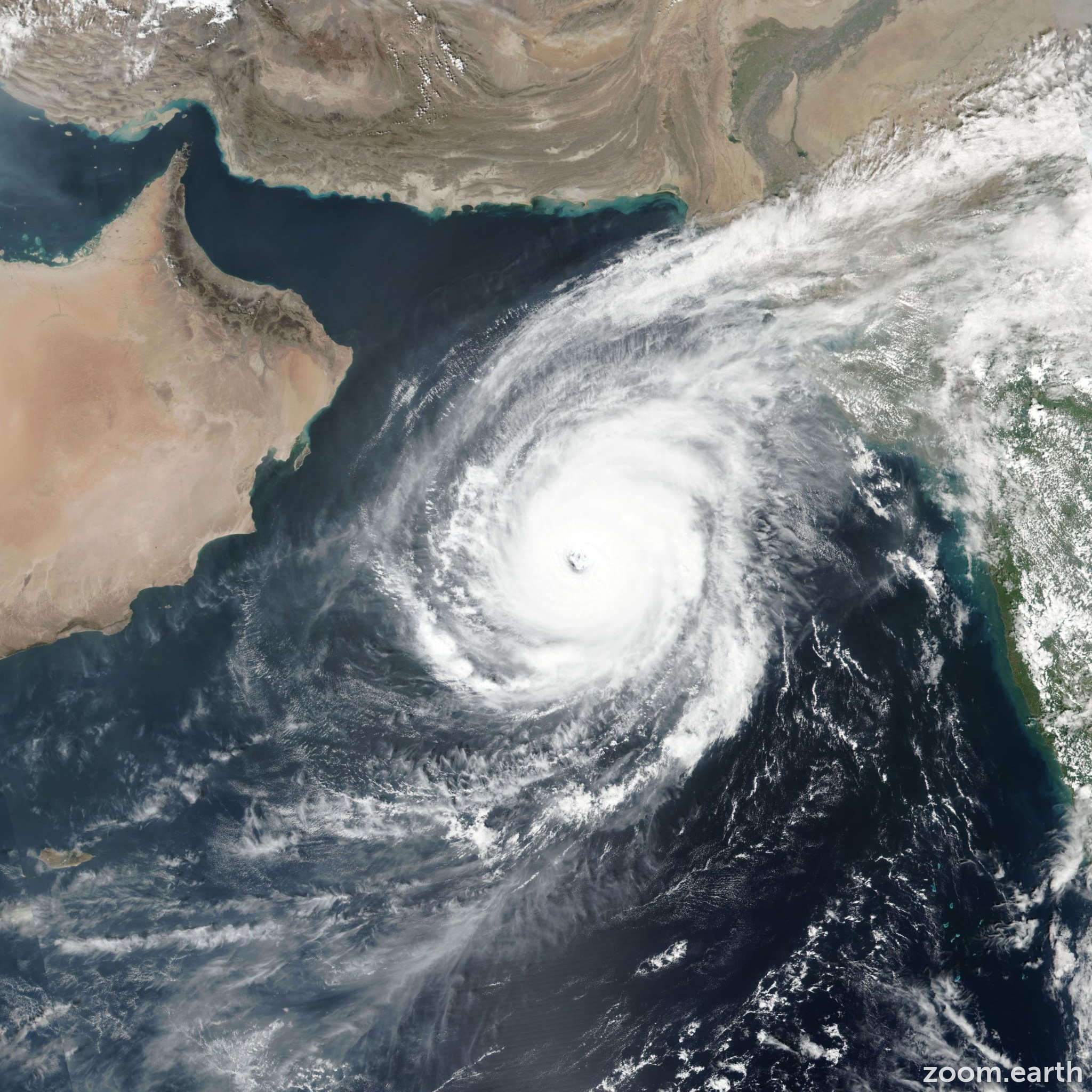 Satellite image of Cyclone Kyarr 2019