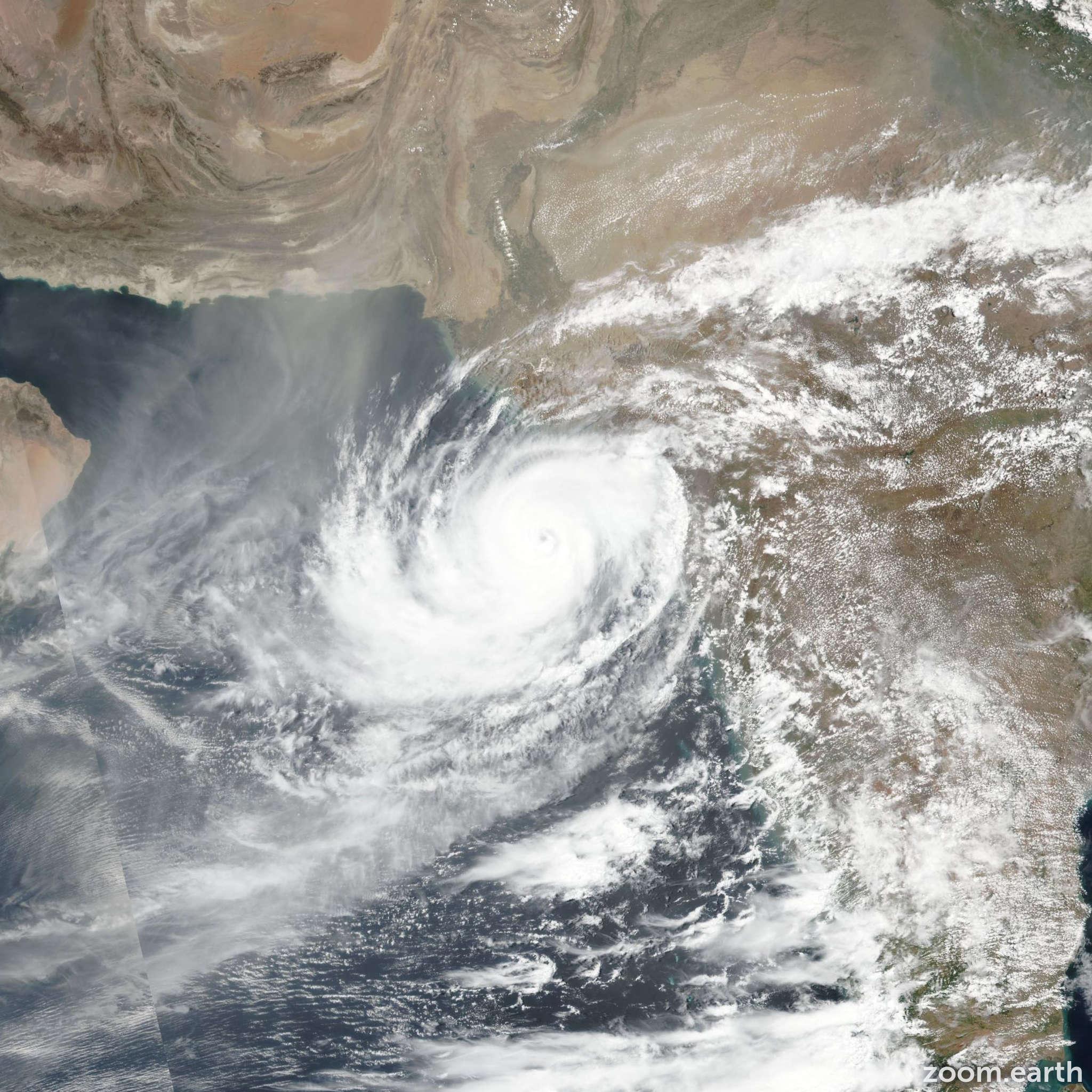 Satellite image of Cyclone Vayu 2019