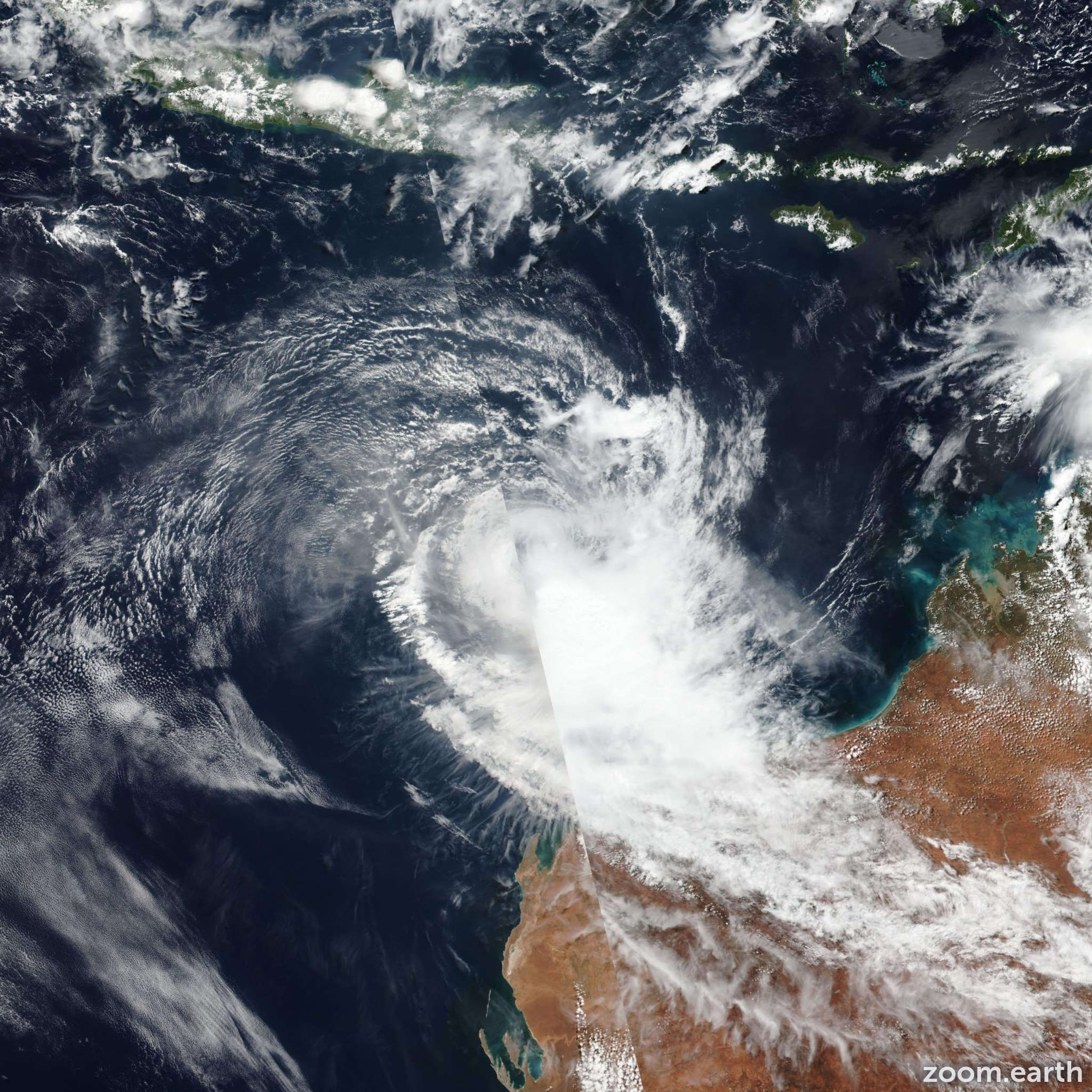 Satellite image of Cyclone Wallace 2019