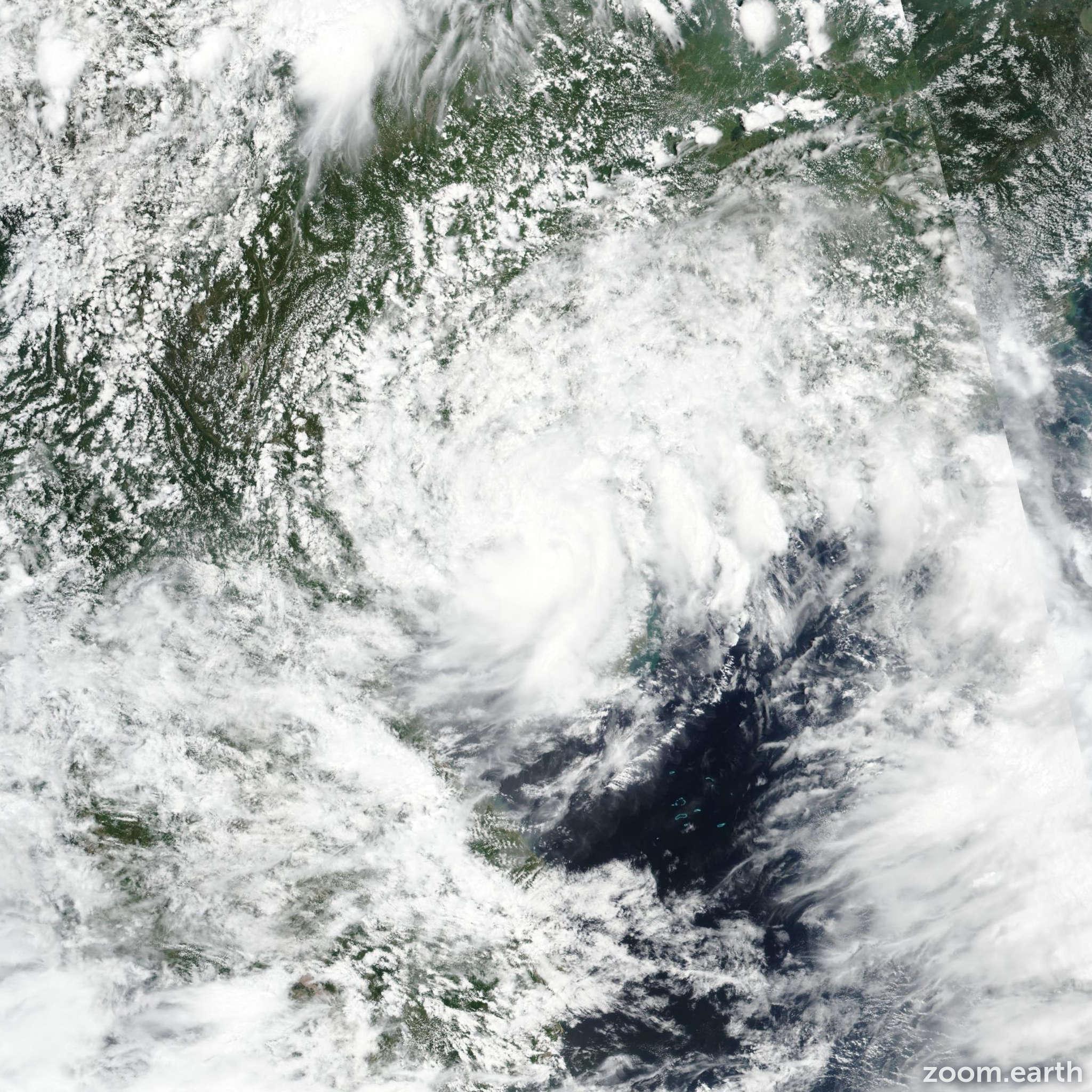 Satellite image of Storm Wipha 2019