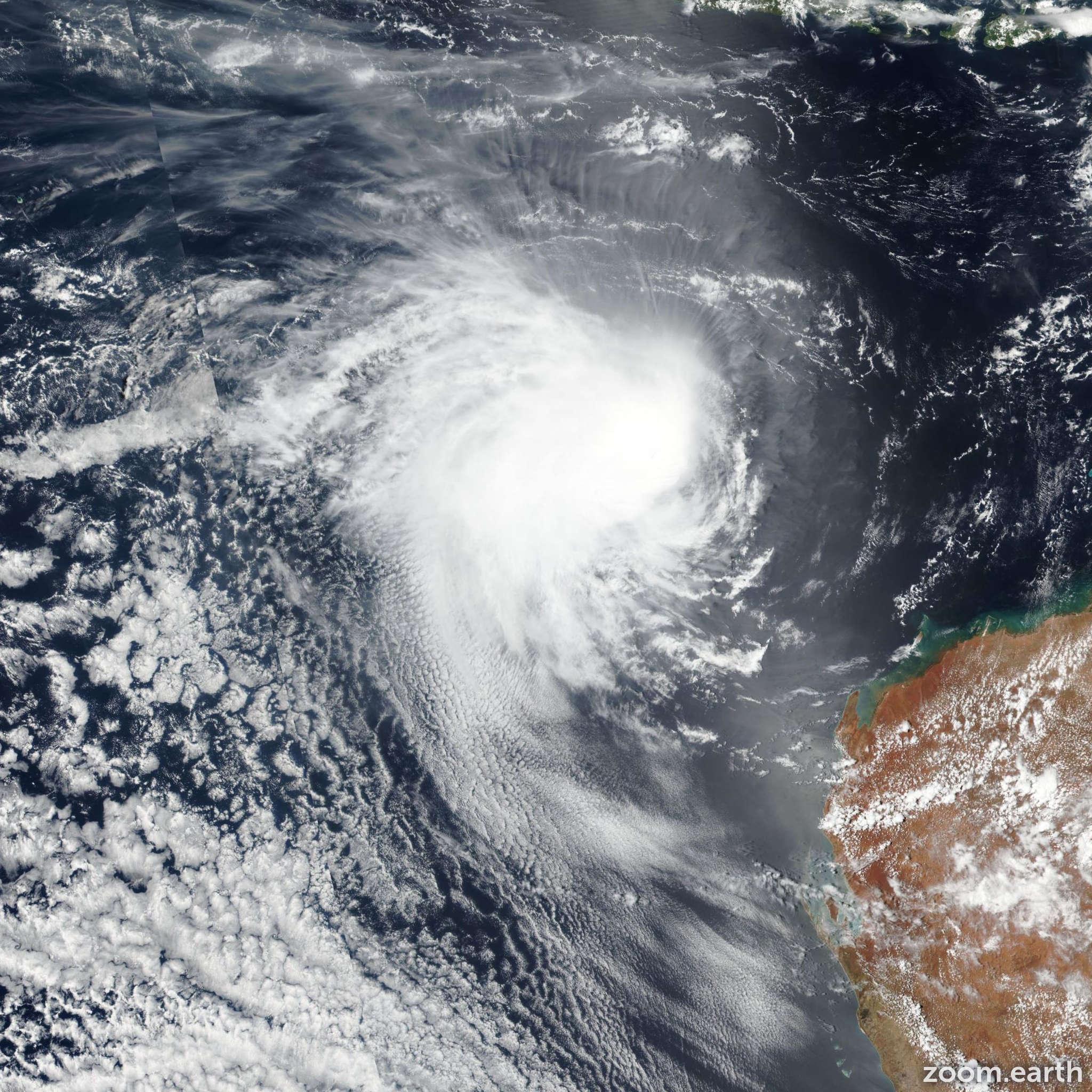 Satellite image of Cyclone Claudia 2020