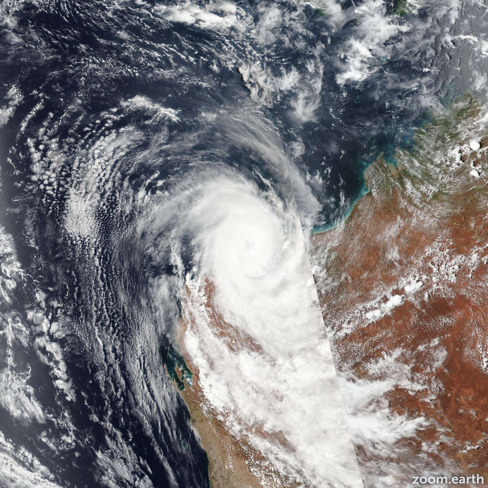 Satellite image of Cyclone Damien 2020