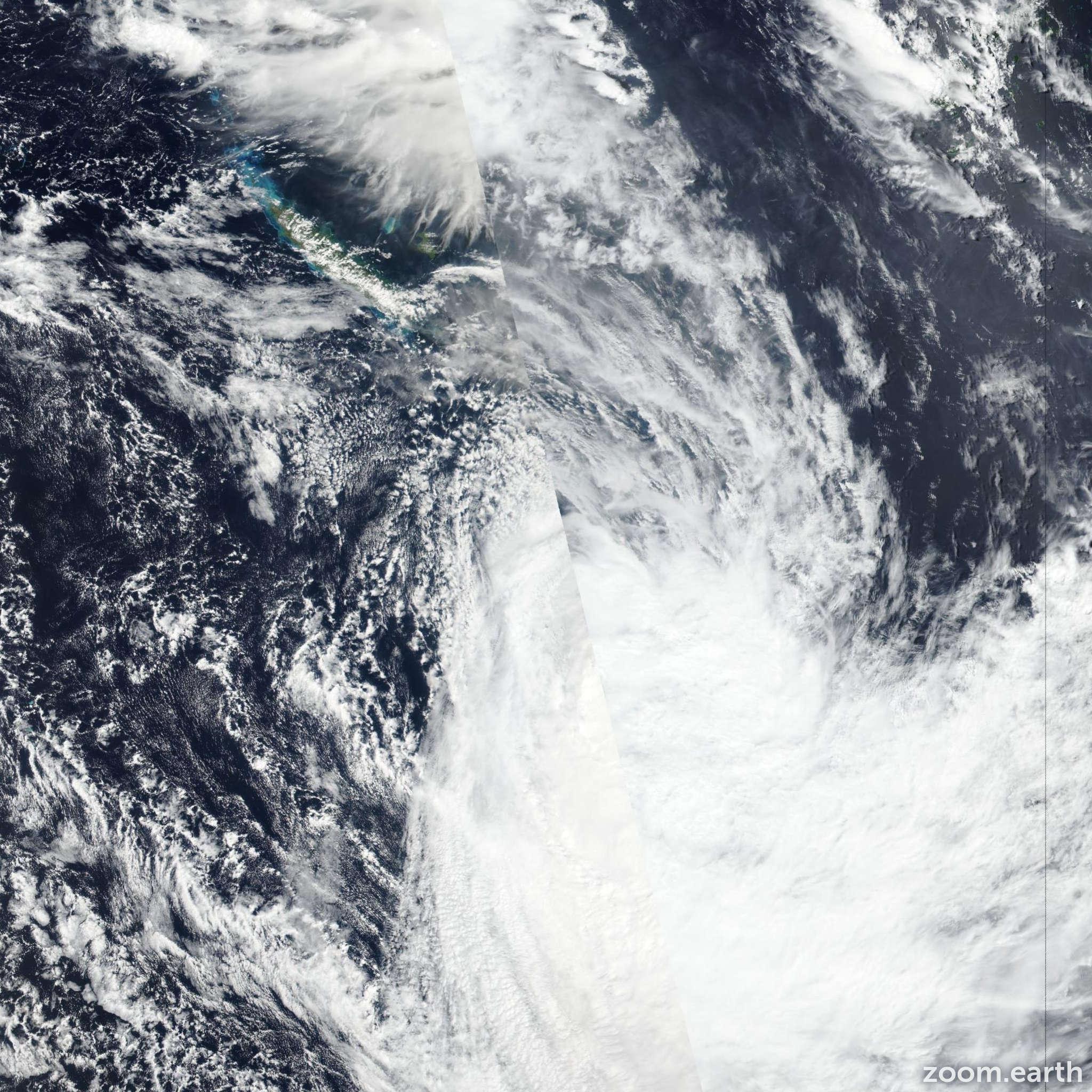 Satellite image of Cyclone Gretel 2020