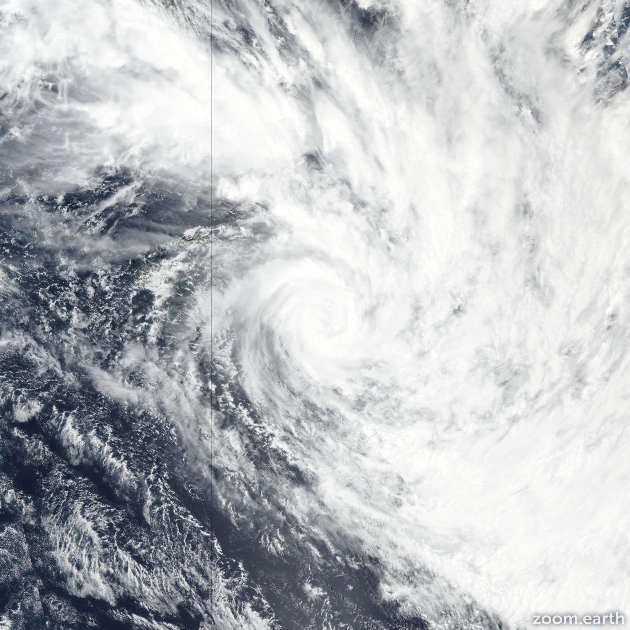 Satellite image of Cyclone Tino 2020