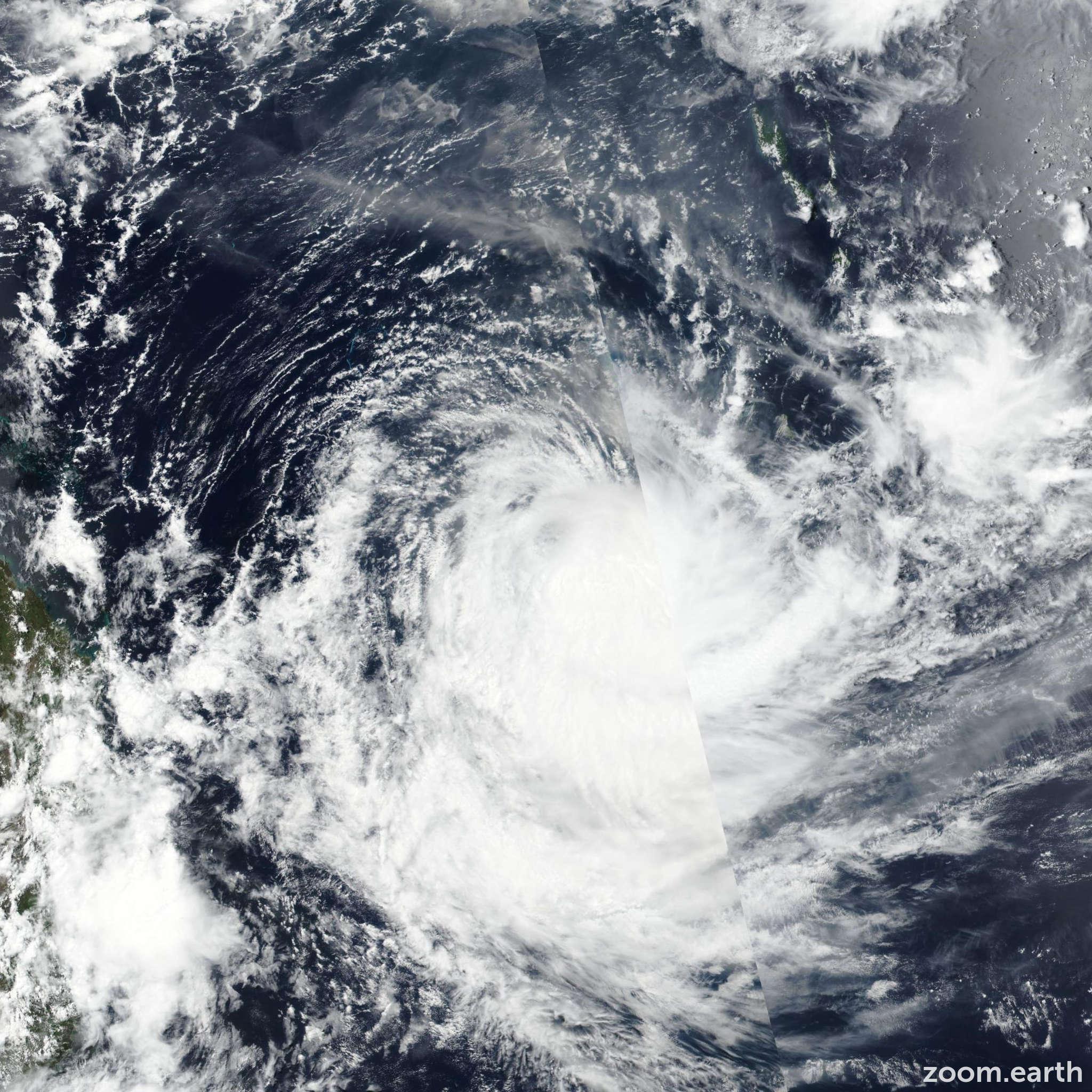 Satellite image of Cyclone Uesi 2020
