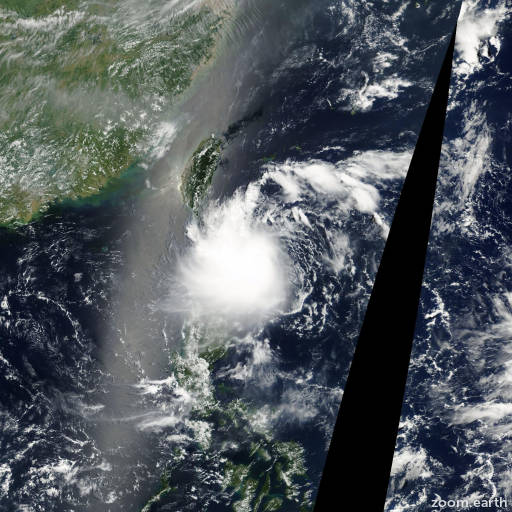 Satellite image of Storm Trami 2001