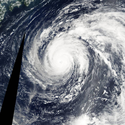 Satellite image of Typhoon Phanfone 2002