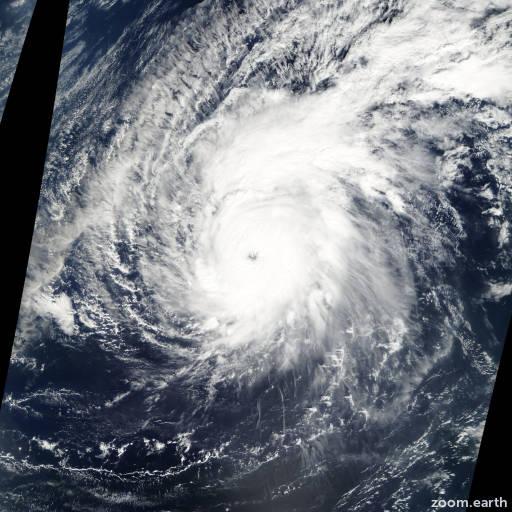 Satellite image of Typhoon Pongsona 2002