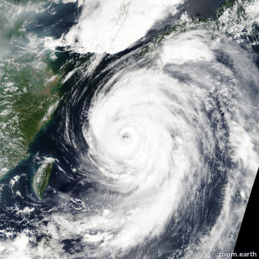 Satellite image of Typhoon Etau 2003