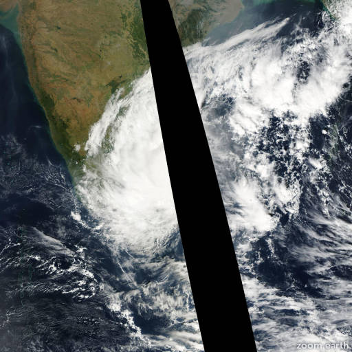 Satellite image of Cyclone Fanoos 2005
