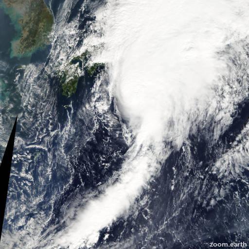 Satellite image of Storm Faxai 2007