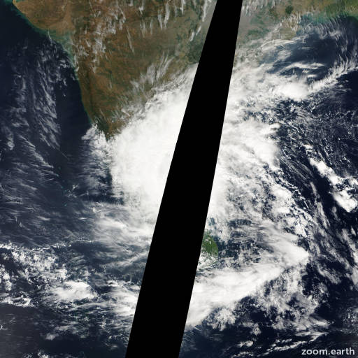 Satellite image of Cyclone Nisha 2008