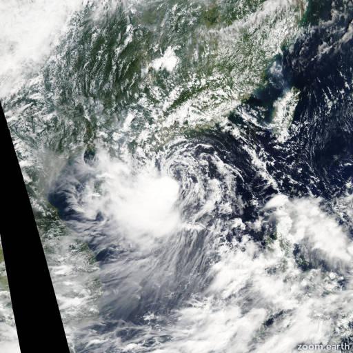 Satellite image of Storm Soudelor 2009