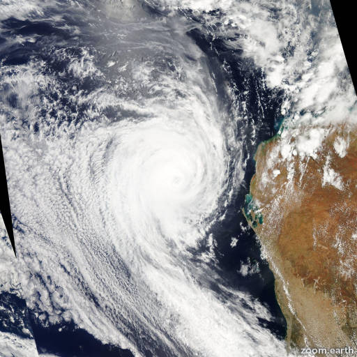 Satellite image of Cyclone Bianca 2011
