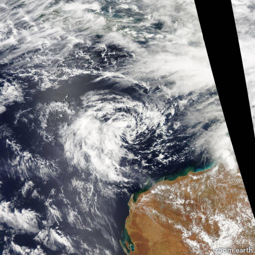 Satellite image of Cyclone Vince 2011