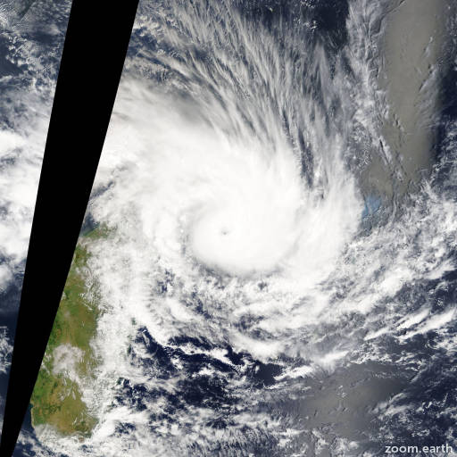 Satellite image of Cyclone Felleng 2013