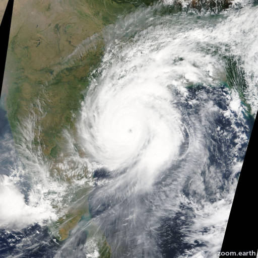 Satellite image of Cyclone Hudhud 2014