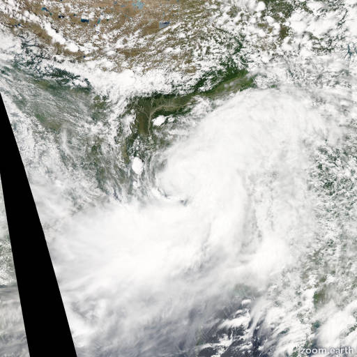 Satellite image of Cyclone Komen 2015
