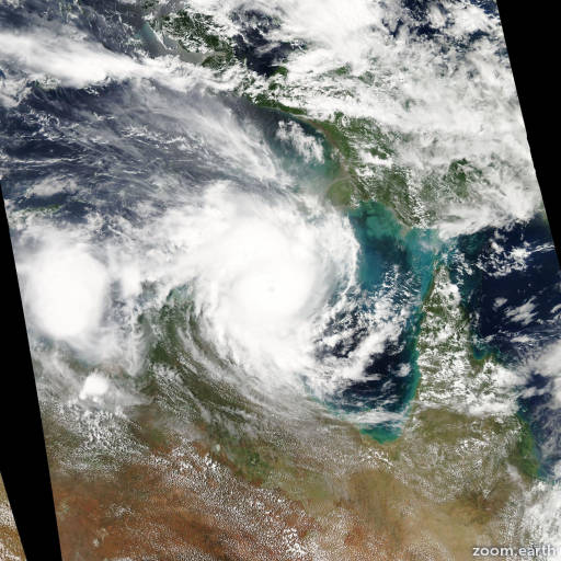 Satellite image of Cyclone Lam 2015